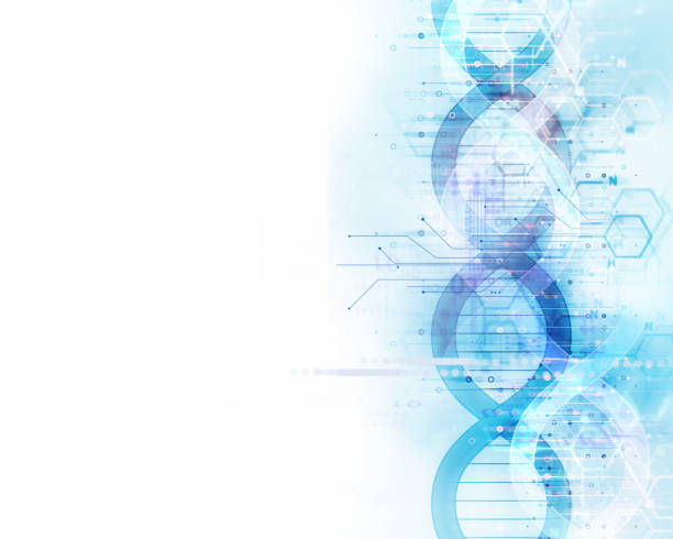blue dna molecules  abstract technology background - bio tech stock illustrations, clip art, cartoons, & icons