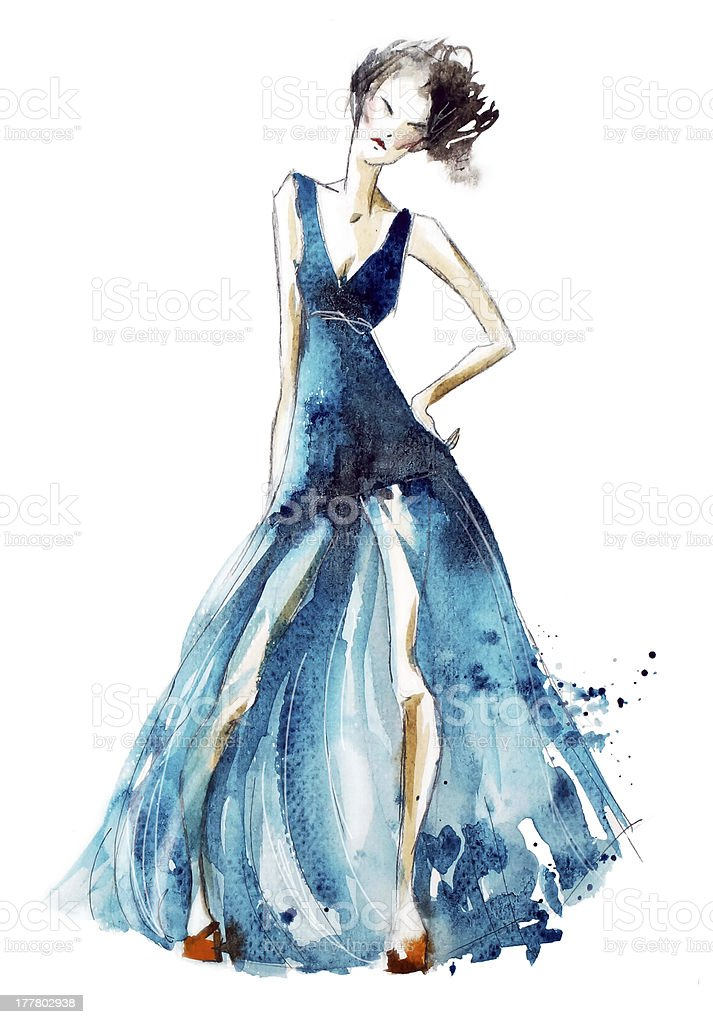 Blue dress fashion illustration, watercolor painting royalty-free stock vector art