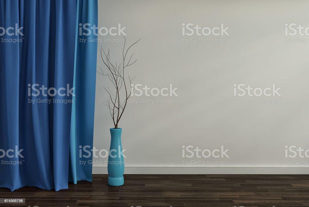 ガラスの花瓶と青い空部屋インテリアの背景3 D のレンダリング