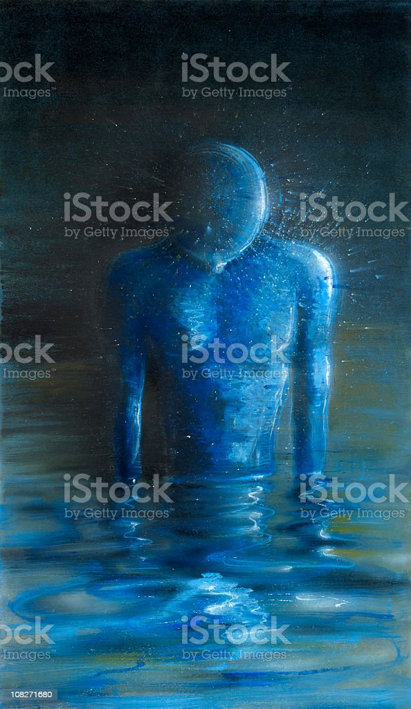 Blue figure standing in water, oil painting royalty-free blue figure standing in water oil painting stock vector art & more images of analyzing