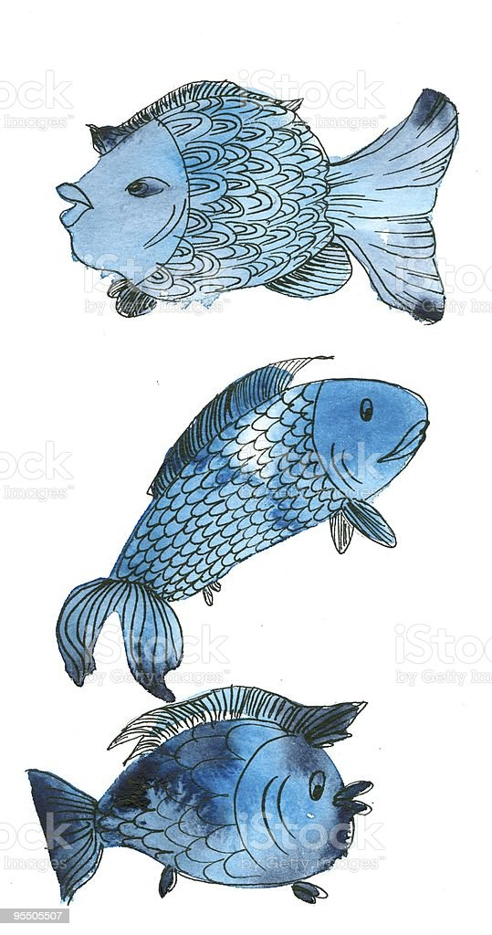 Blue Fishes in a Column royalty-free stock vector art