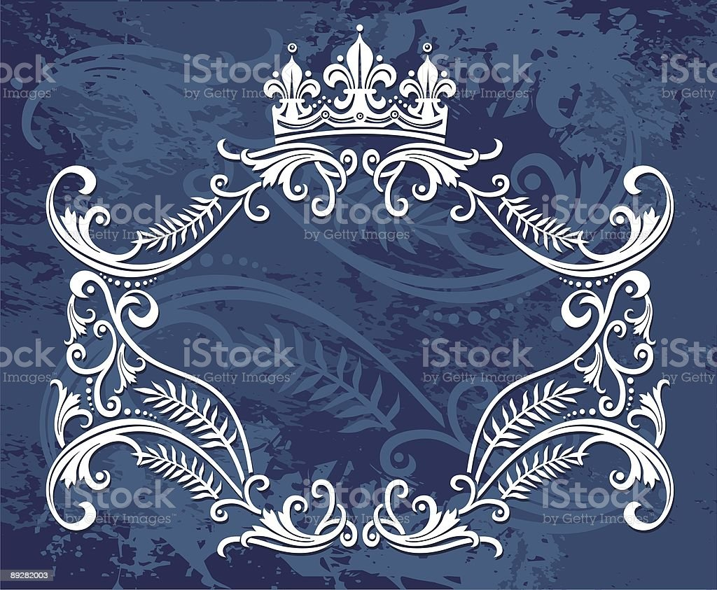 blue floral label royalty-free stock vector art