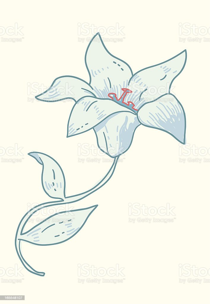 Blue flower vector art illustration