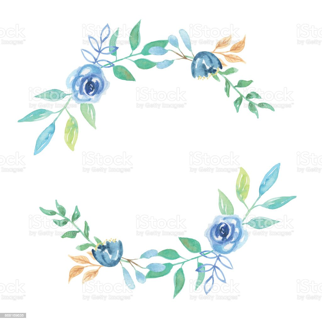 Blue flower wreath berries watercolour garland stock vector art blue flower wreath berries watercolour garland royalty free blue flower wreath berries watercolour garland stock izmirmasajfo