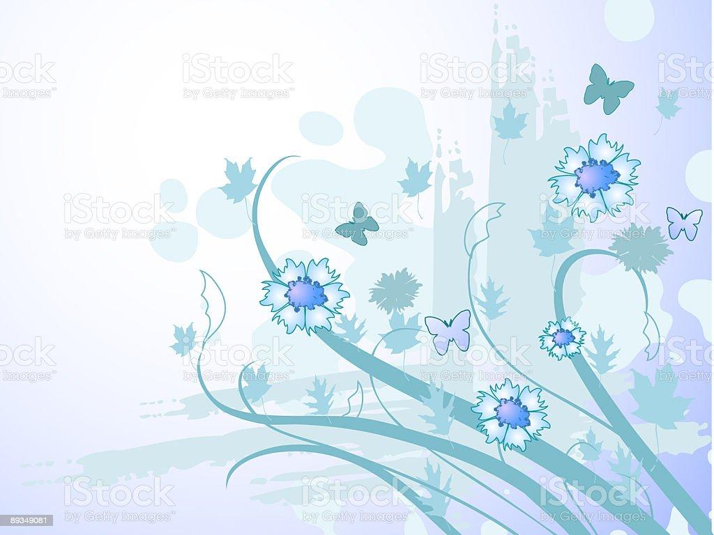 Blau Blumen – Vektorgrafik