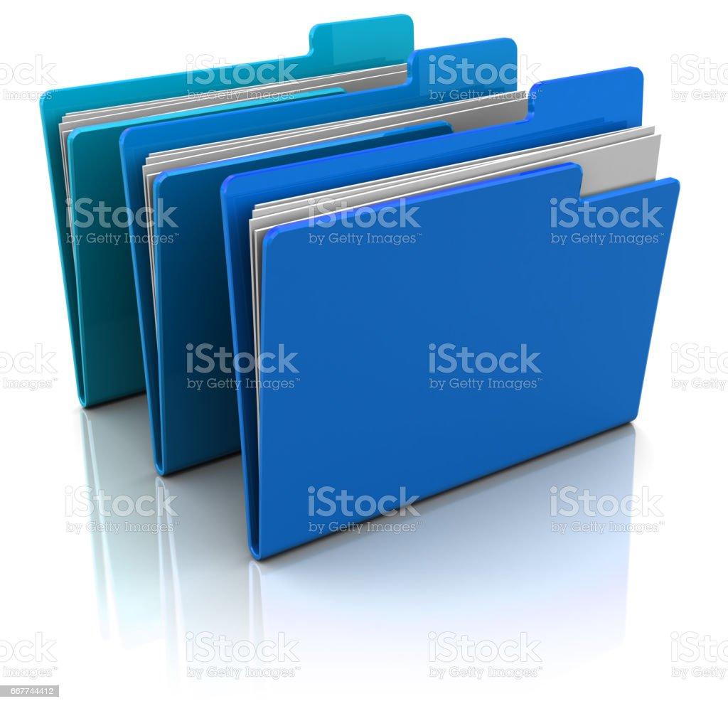 blue folders vector art illustration