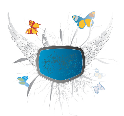 Blue Frame with butterfly - grunged