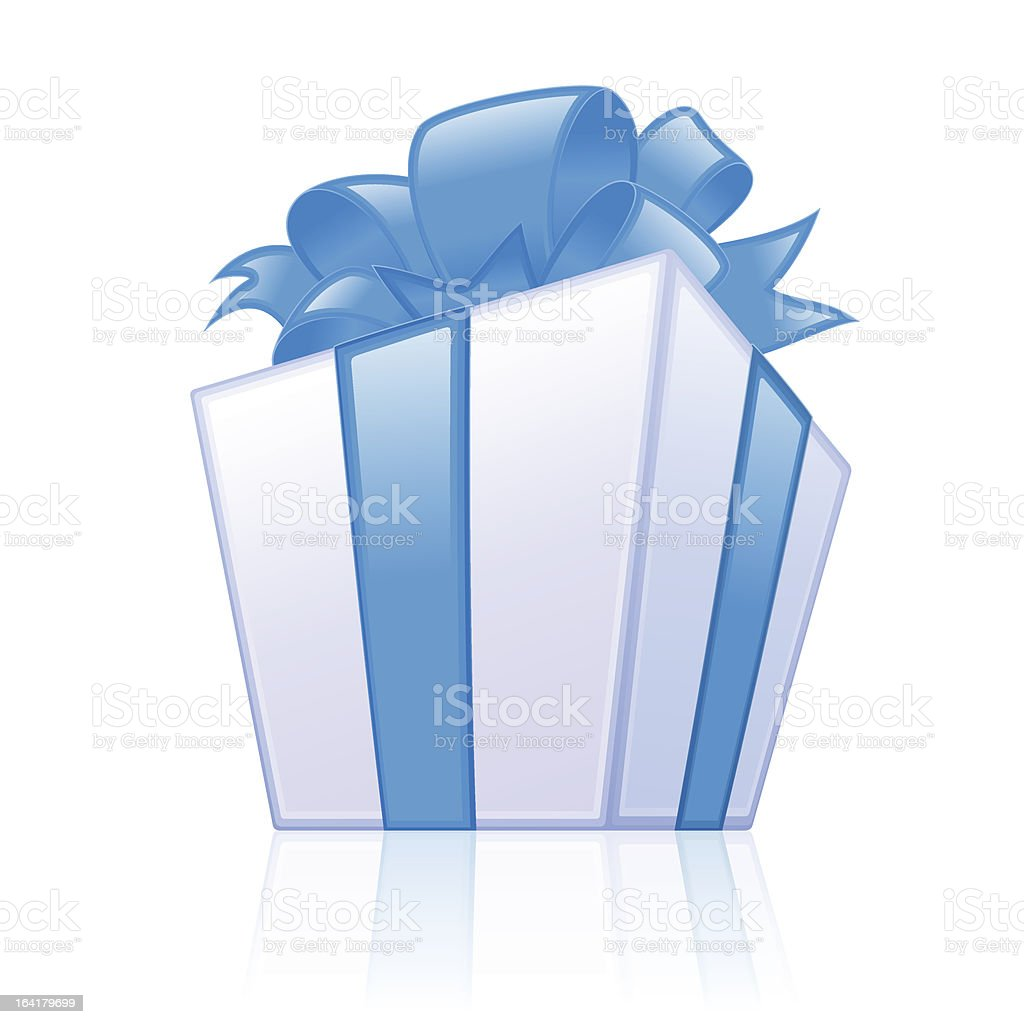 Blue gift box vector art illustration