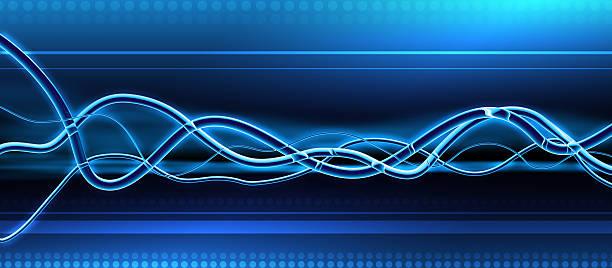 Blue Glass Waveforms - DJ Background vector art illustration
