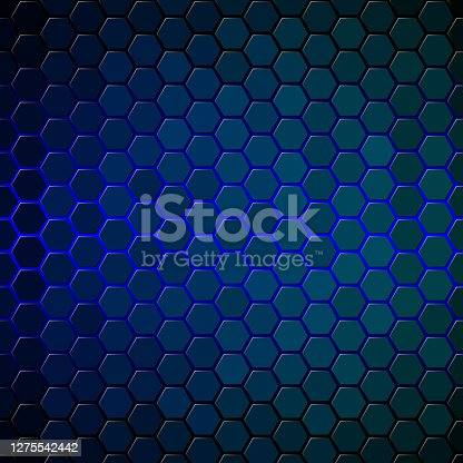 Blue glow behind hexagon tiles covering surface. Honeycomb pattern with individually lit shapes. Gradient.