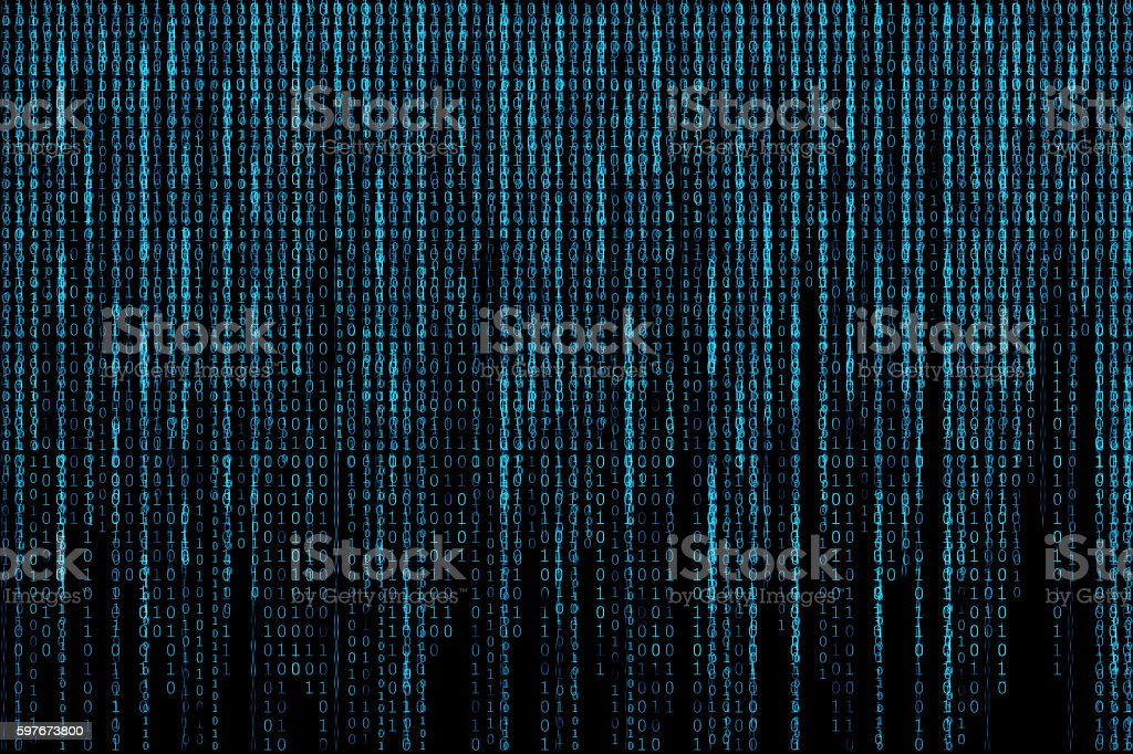 Blue glowing matrix background vector art illustration