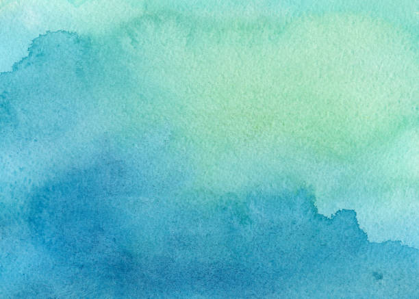 blue green watercolor background - watercolor background stock illustrations, clip art, cartoons, & icons