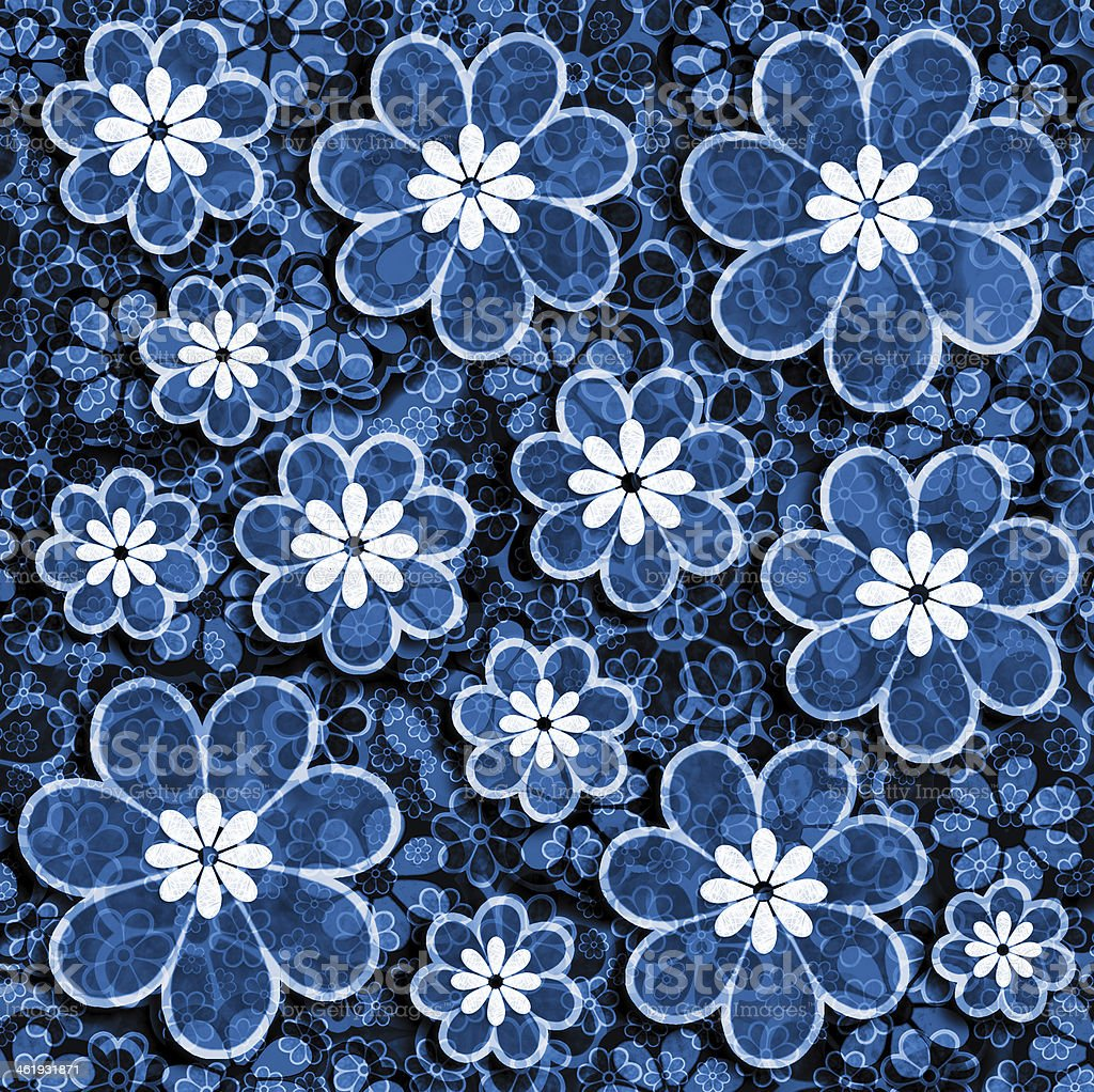 Blue Grunge Flower Scrapbook Paper Stock Illustration Download Image Now Istock