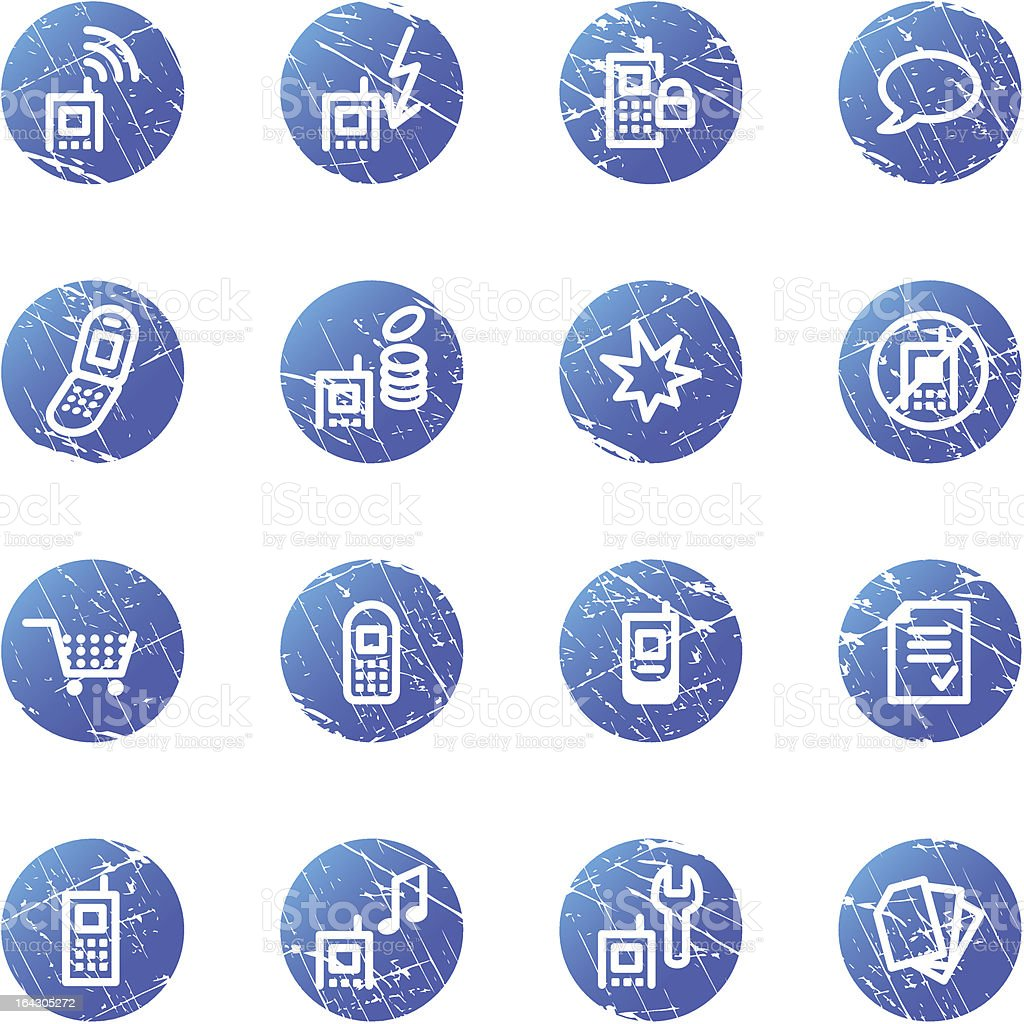 blue grunge mobile phone icons royalty-free stock vector art