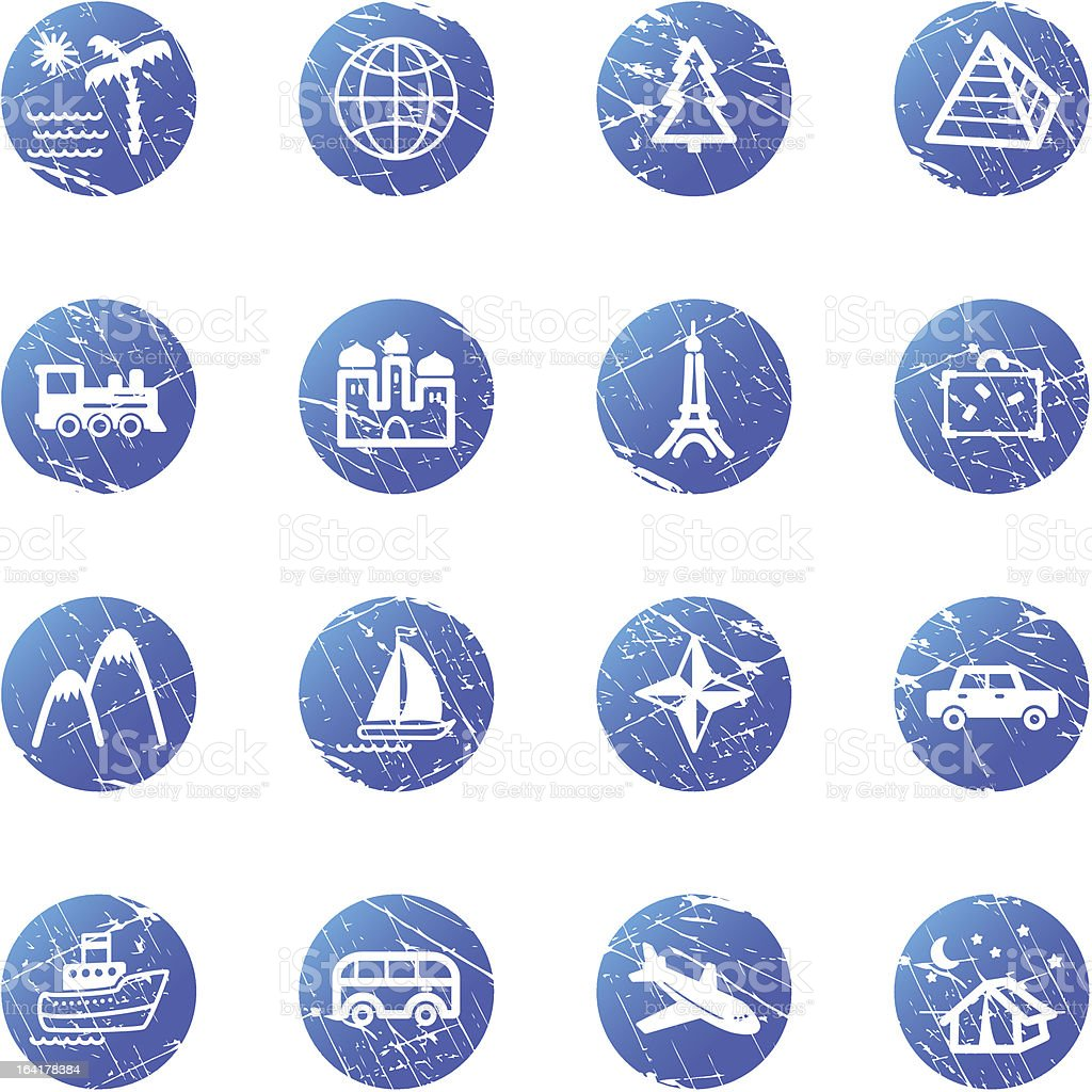 blue grunge travel icons royalty-free blue grunge travel icons stock vector art & more images of airplane