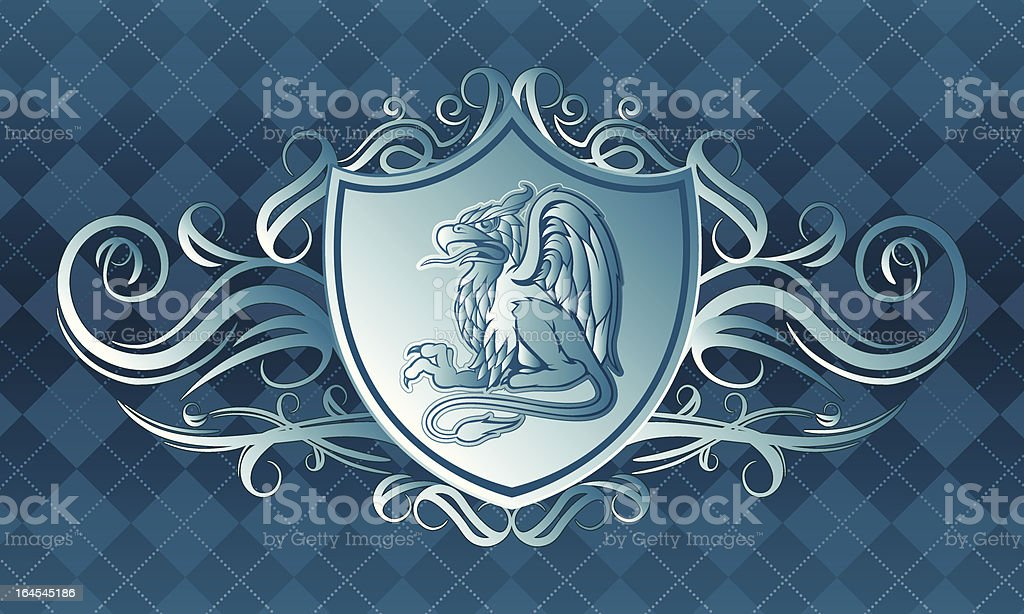Blue Gryphon Crest royalty-free blue gryphon crest stock vector art & more images of animal