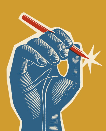 Blue Hand Holding Red Pen