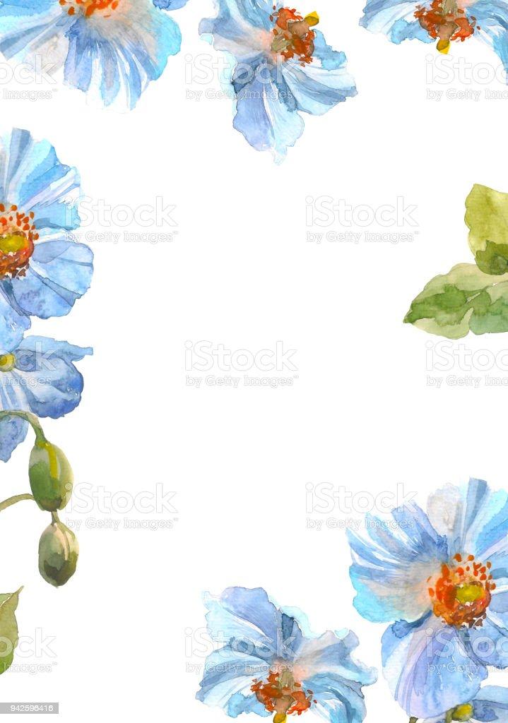 青いハーブ花フレーム水彩花のイラスト花の装飾的な要素花の背景