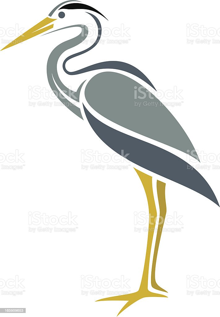Blue Heron vector art illustration