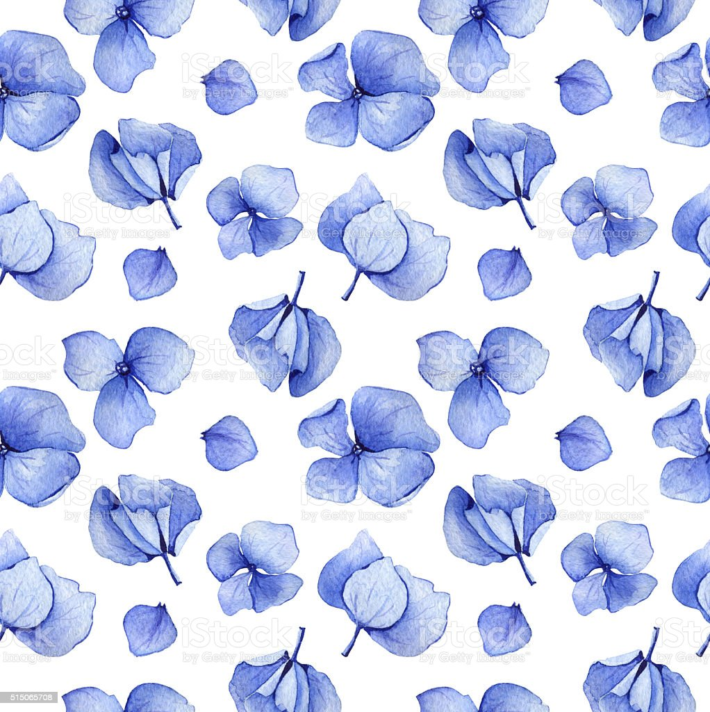 Blue hydrangea seamless pattern vector art illustration