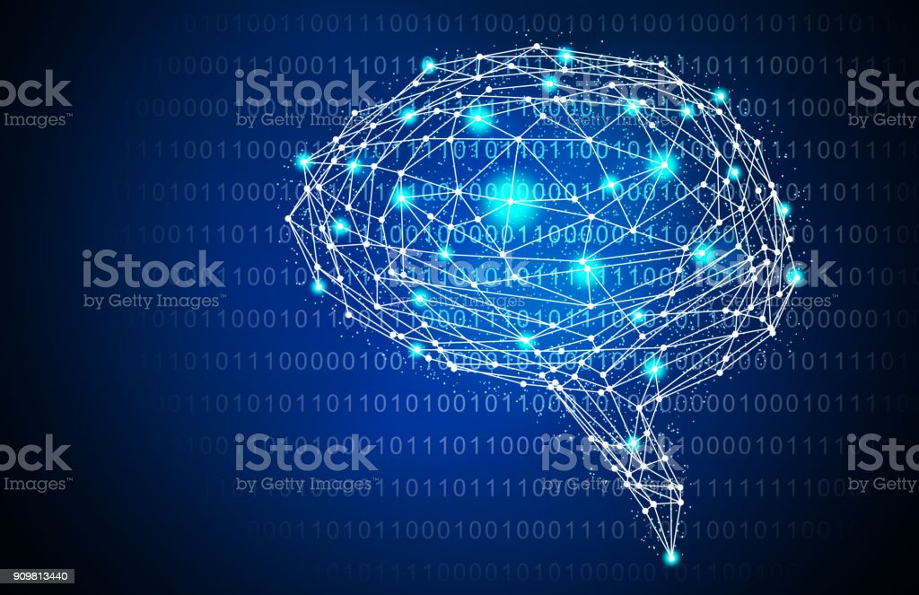 Blue Intelligent Artificial brain mother computer. illustration background image. vector art illustration