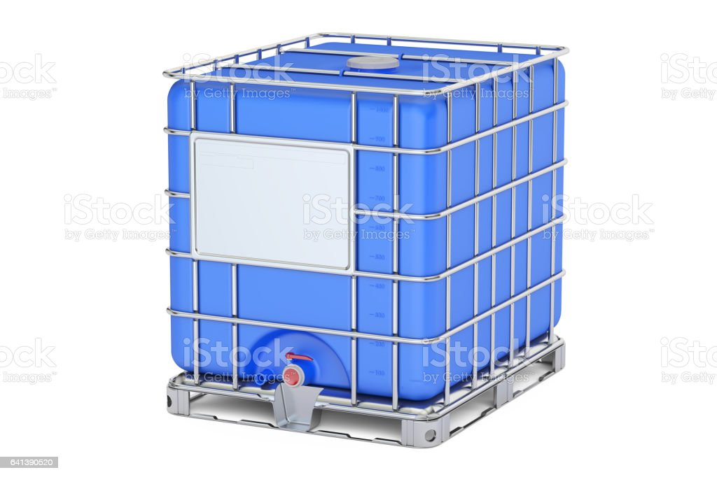 Blue intermediate bulk container closeup, 3D rendering isolated on white background vector art illustration