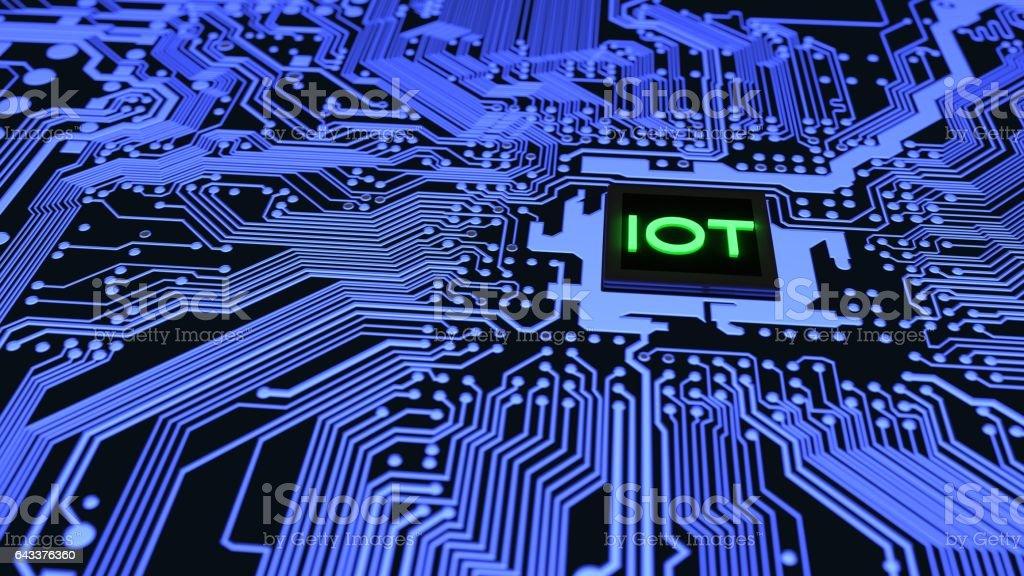 Blue Iot Circuit Board Closeup Connected To A Cpu Stock Vector Art ...
