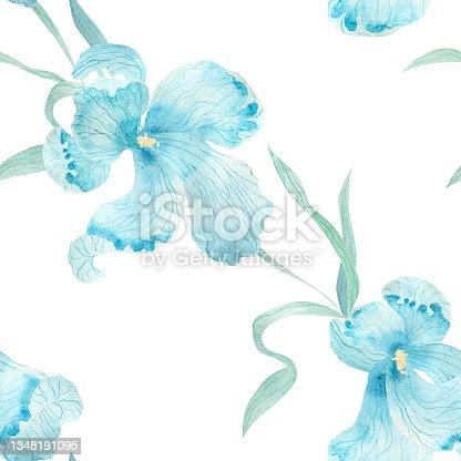 istock Blue iris flower. Watercolor illustration. Seamless pattern. 1348191095