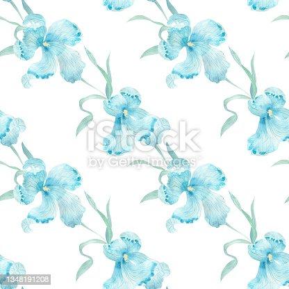 istock Blue iris flower. Watercolor illustration. Seamless pattern. 1348191208