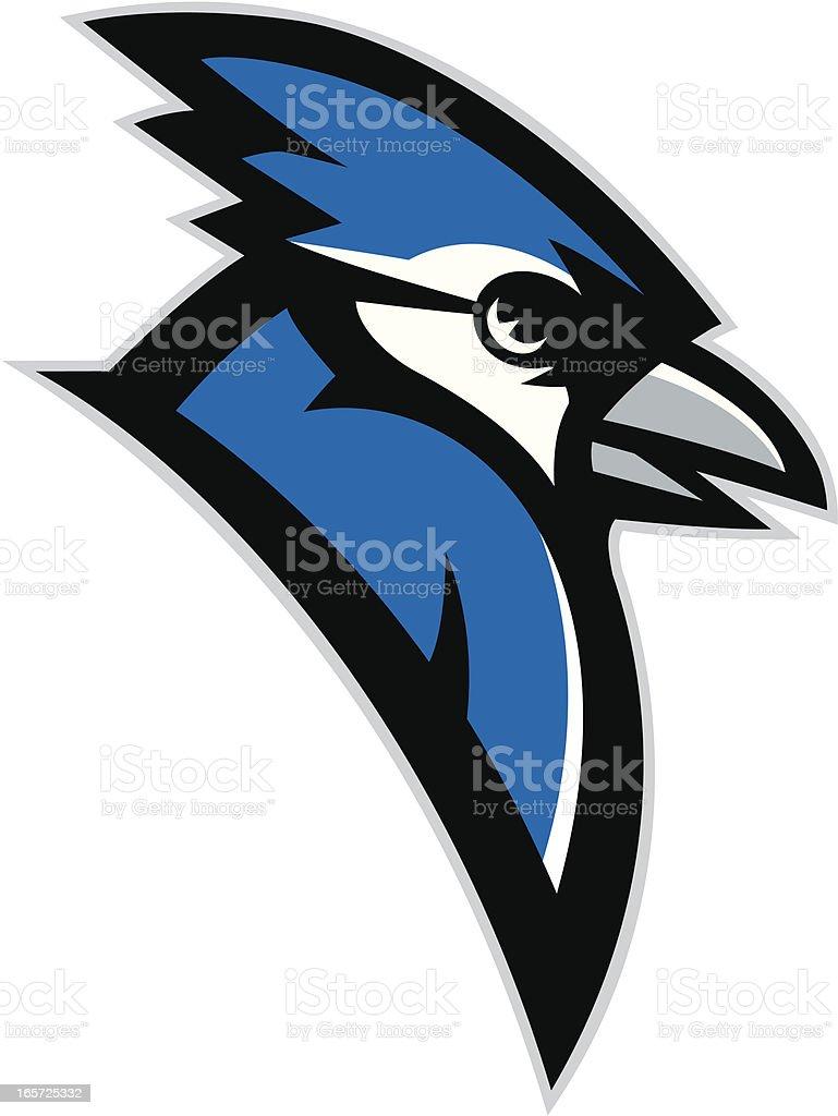 Blue Jay head mascot vector art illustration