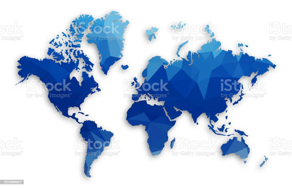 Blue Low Poly World Map Royalty Free Blue Low Poly World Map Stock Vector  Art