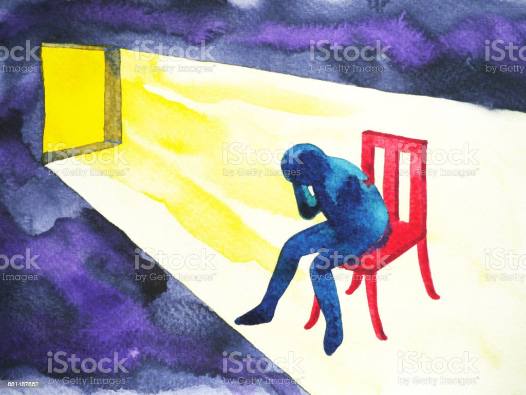 blue man in the dark room with open window and lighting shine, abstract watercolor painting vector art illustration