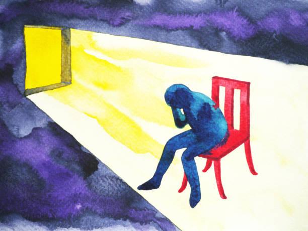 stockillustraties, clipart, cartoons en iconen met blauw man in de donkere kamer met open raam en verlichting shine, abstract aquarel - solitair