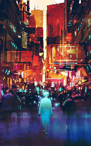 bildbanksillustrationer, clip art samt tecknat material och ikoner med blue man walking in futuristic city with colorful light - gränd
