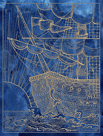 Blue marine illustration with old sailing ship or sailboat and rising sun.