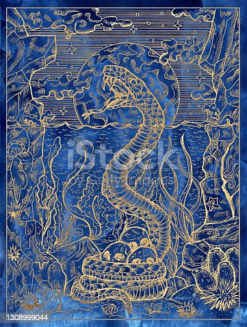 Blue marine illustration with scary snake, seascape and human skulls against full moon.