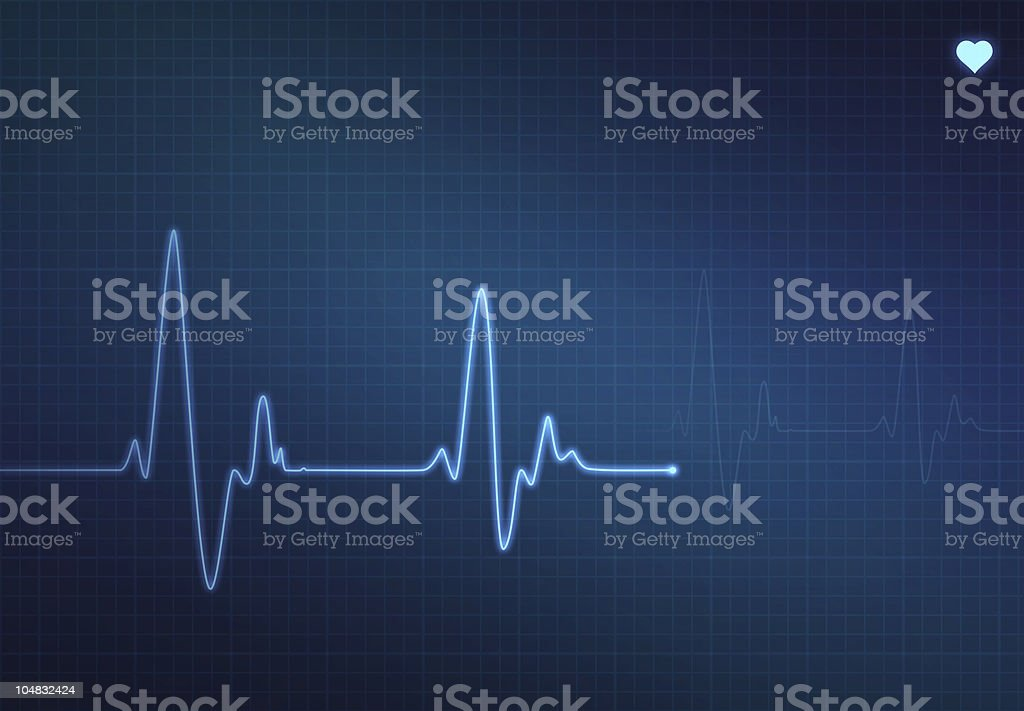 Blue monitor showcasing a heartbeat line vector art illustration
