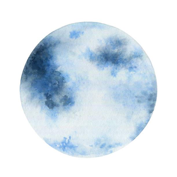 illustrazioni stock, clip art, cartoni animati e icone di tendenza di blue moon isolated on white background - mika