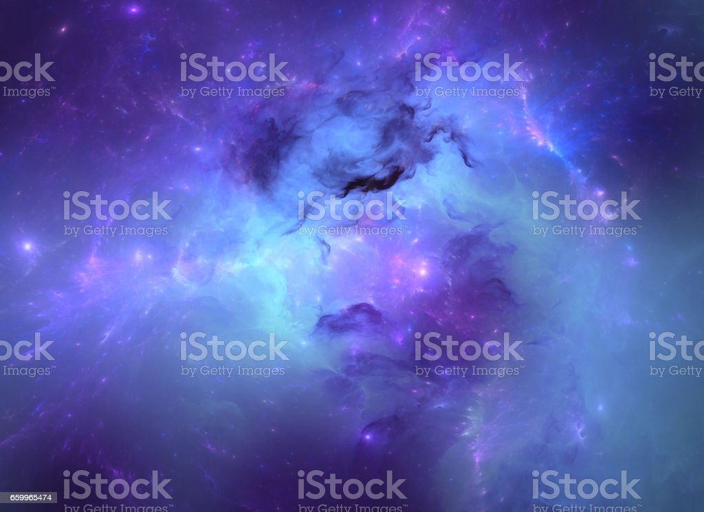 Blue nebula vector art illustration