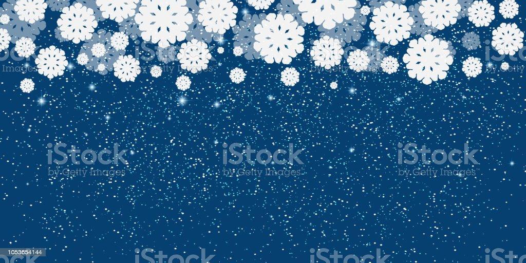 Blauer Silvester Weihnachten Hintergrund Mit Weißen Schneeflocken ...