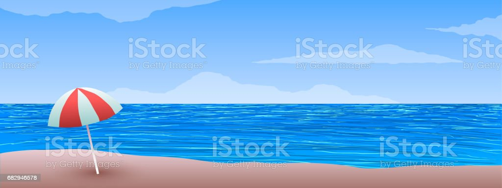 Blue ocean beach, sand and umbrella in vector. royalty-free blue ocean beach sand and umbrella in vector stock vector art & more images of backgrounds