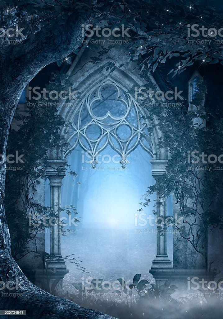 Blue passage vector art illustration