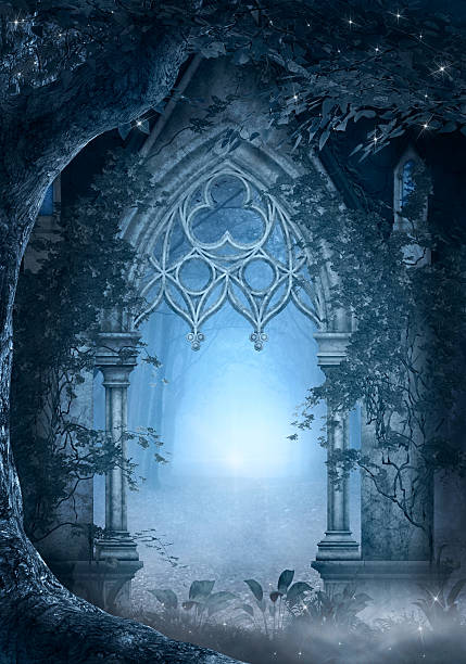 Blue passage Enchanted passage illustration dreamlike stock illustrations
