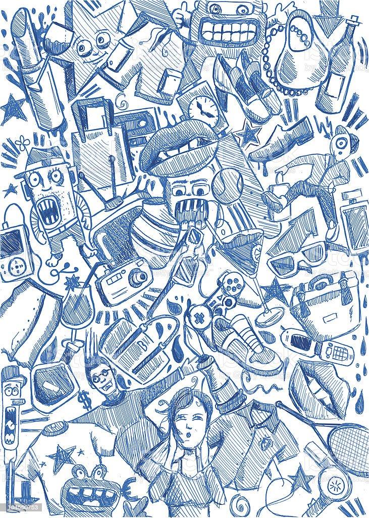 blue pencil shopping background vector art illustration