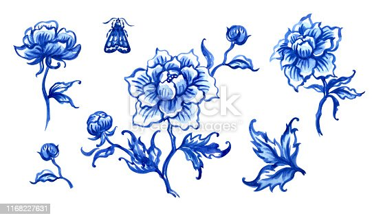 Blue peonies, watercolor illustration in oriental or dutch style, watercolor illustration on white background, isolated. Decorative floral painting for porcelain or ceramics, print for fabric, etc.