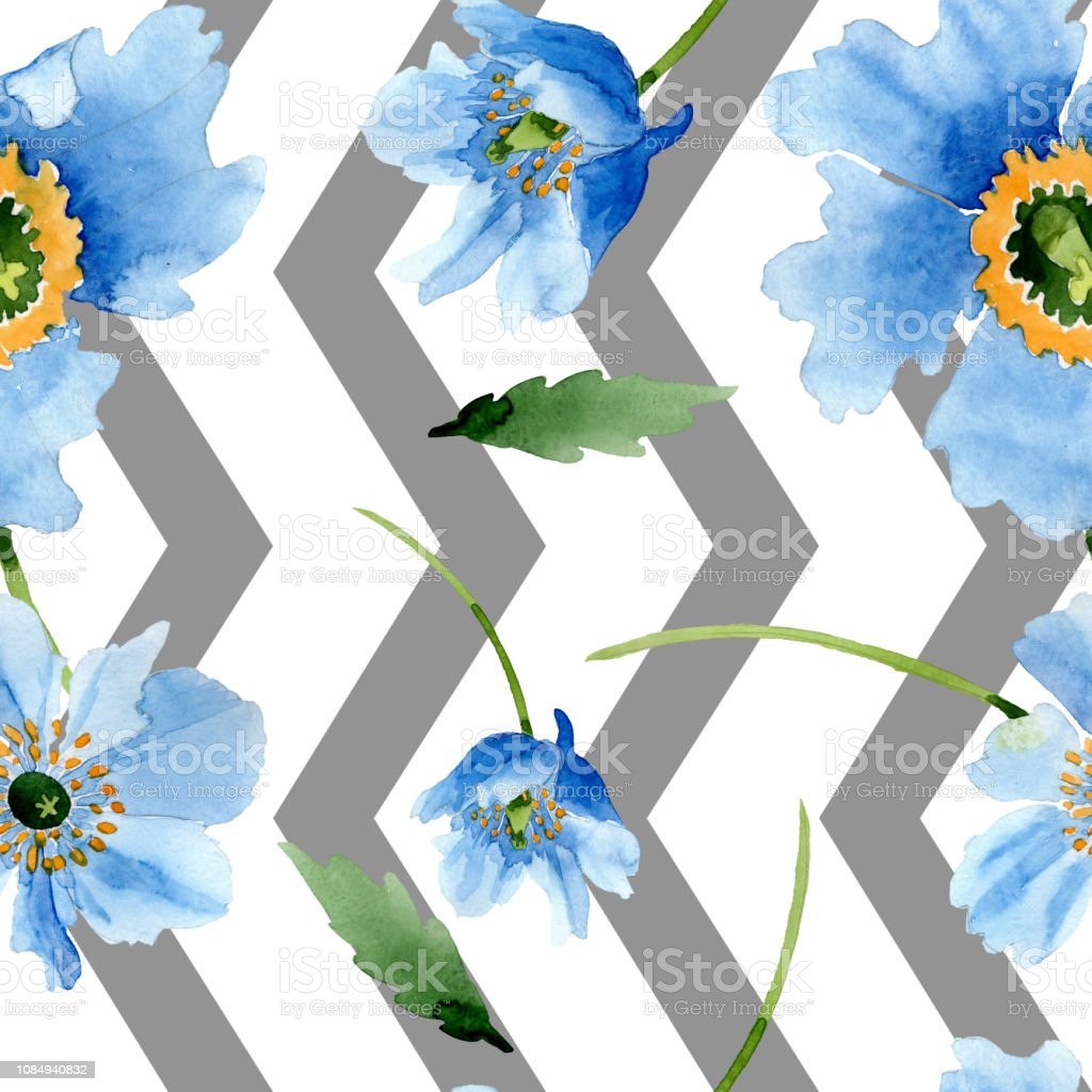 Blue Poppy Floral Botanical Flower Seamless Background Pattern