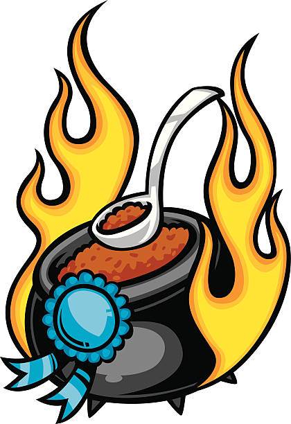 blue ribbon chili flaming chili pot with blue ribbon cooking competition stock illustrations