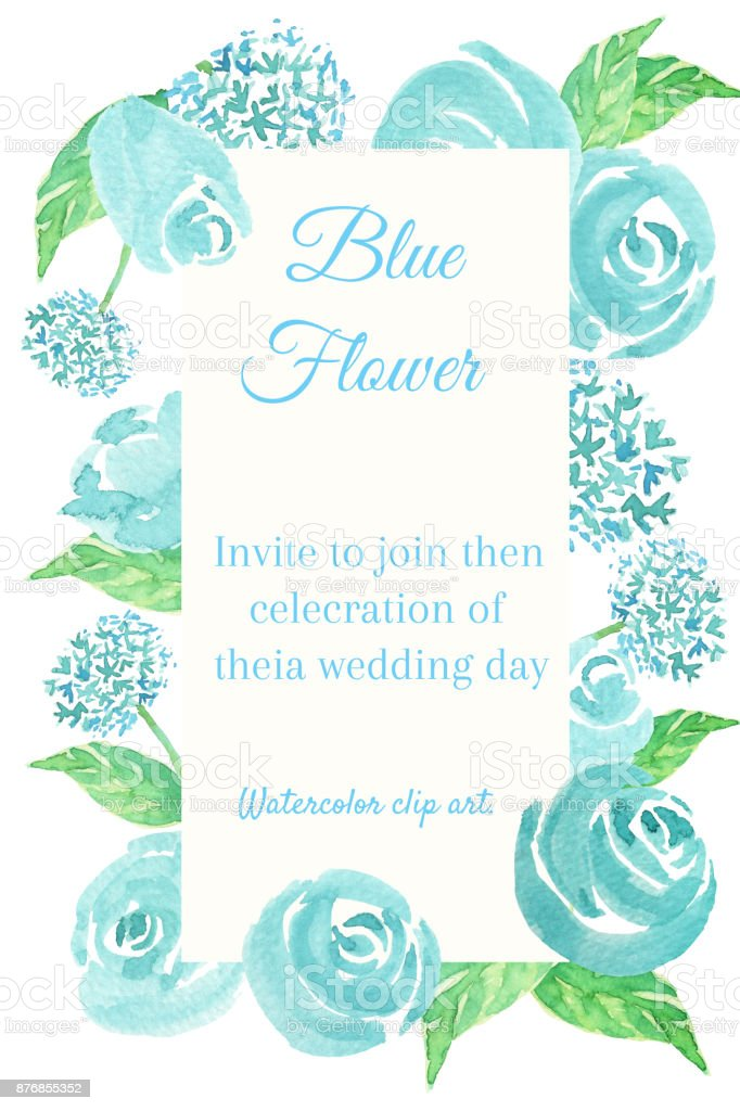blue rose watercolor clip art is flower frame with blue