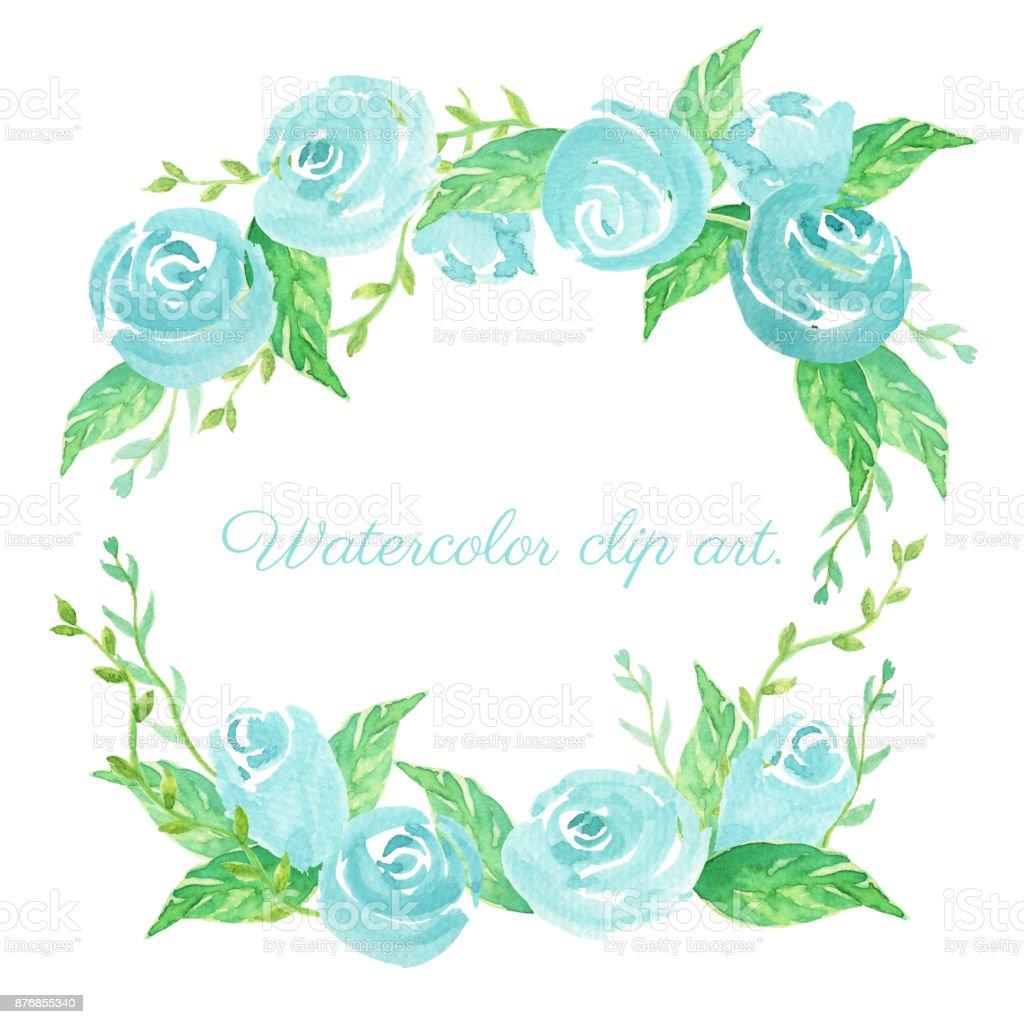 Mavi Gul Sulu Boya Kucuk Resim Mavi Gul Ve Yaprak Cicek Celenk