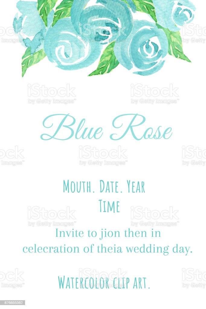 Mavi Gul Sulu Boya Kucuk Resimlerle Mavi Gul Ve Yaprak Bouguet